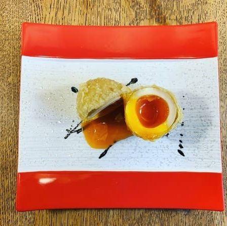 金太郎卵の半熟煮玉子